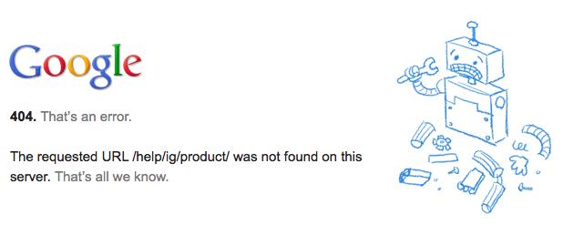 Google HTTP 404エラー